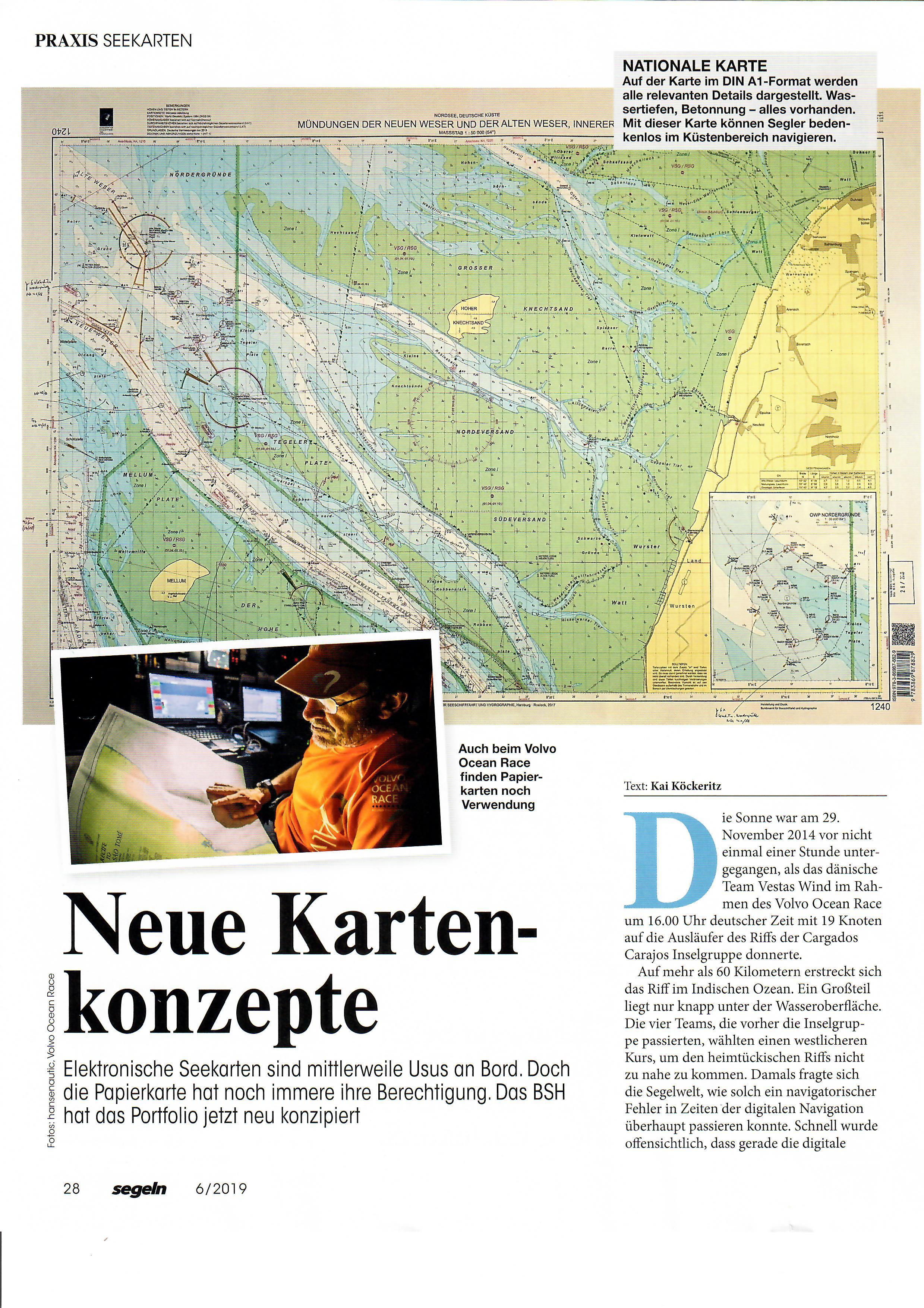 """Artikel """"Neue Kartenkonzepte"""" in Zeitschrift Segeln"""