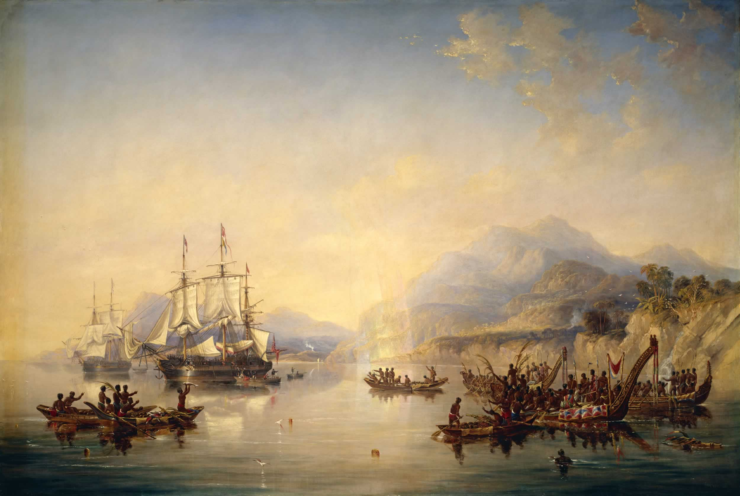 'Erebus' and the 'Terror' in New Zealand, August 1841 by John Wilson Carmichael