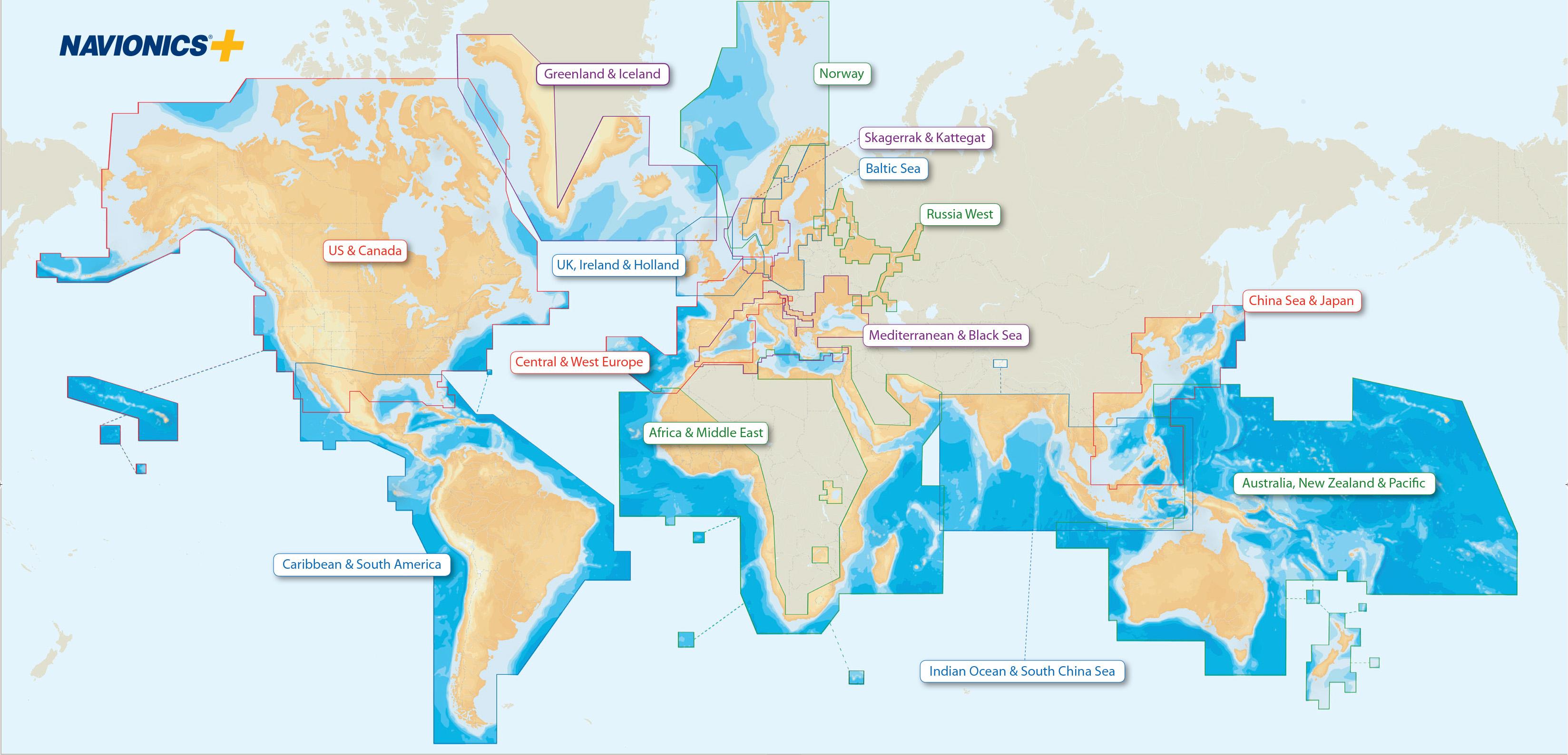 Weltweite Abdeckung mit Navionics+ Seekarten